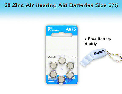Zinc Air Hearing Aid Batteries, Size 675, 60 Pcs + Free Battery Buddy