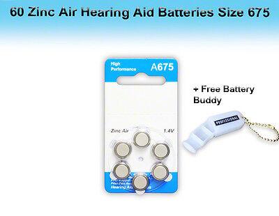 Zinc Air Hearing Aid Batteries, Size 675, 60 Pcs + Free Battery Buddy