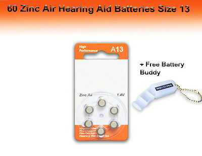 Zinc Air Hearing Aid Batteries, Size 13, 60 Pcs + Free Battery Buddy