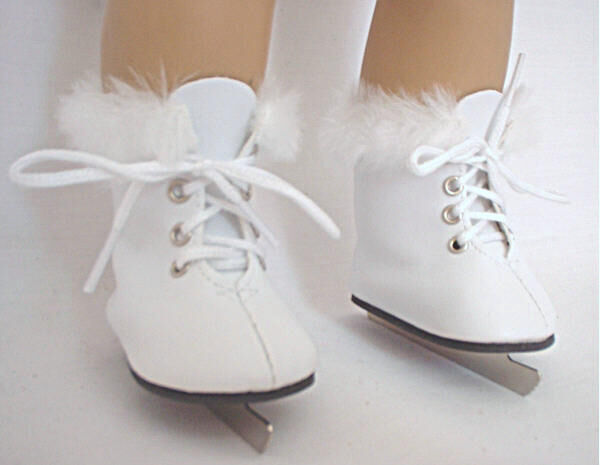 "Lovvbugg White Furry Fur Ice Skates for 18"" American Girl Doll Clothes and Shoes"