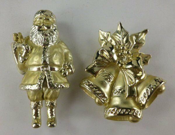 Christmas Pins Santa Brooch Bell Pin Gold Tone Shiny Metallic Holiday Jewelry AJ