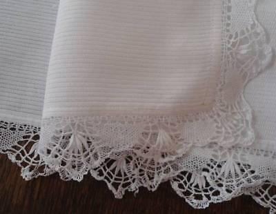 "Vintage White Ribbed Cotton Dresser Scarf Table Runner Bobbin Lace 31"""
