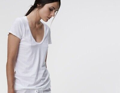 JAMES PERSE Women's Scoop Neck White Cotton Short Sleeve Tee Size 0 XS
