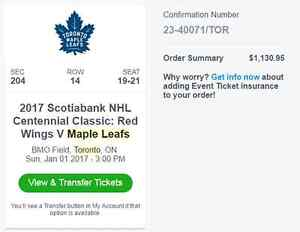 3 Great Centennial Classic Tickets - selling WELL BELOW COST Peterborough Peterborough Area image 1