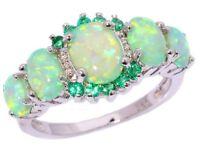 Lovely green opal fire ring