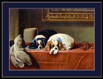 Cavalier King Charles Spaniel Prints (English Print Cavalier King Charles Spaniel Dog Dogs Puppies Vintage Art Poster )