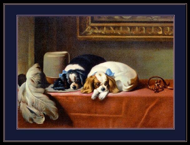 English Print Cavalier King Charles Spaniel Dog Dogs Puppies Vintage Art Poster