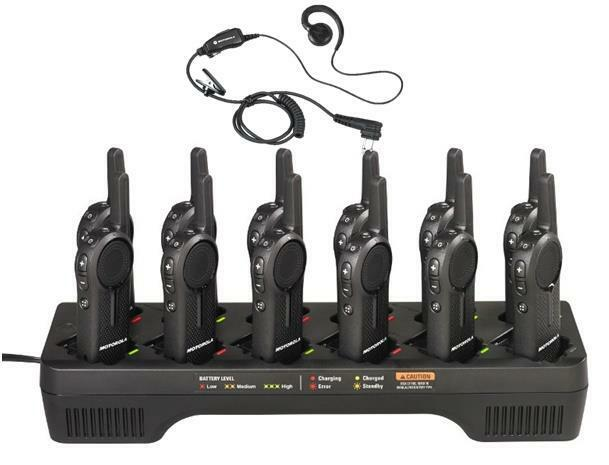 12 Motorola DLR1020 Two Way Radios w/ Earpieces & 12-Bank Charger + Radio Rebate