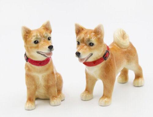 New PORCELAIN Figurine DOG Salt Pepper Shakers SHIBA INU Japanese Puppy Statue