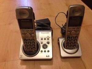 TWO PANASONIC PORTABLE PHONES WITH ANSWERING MACHINE