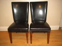 Faux leather Parson chairs-$15 Pair