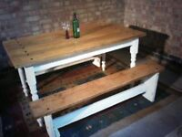 solid antique pine dining table set 5ftx3ft