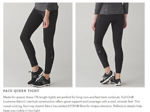 Lululemon black pace queen tights size 4