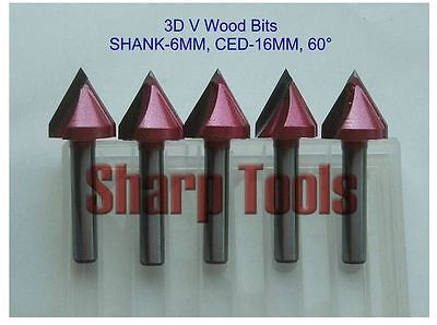 5pcsset 6x16mm 60 Degree V-shape Groove 3d Bits Cnc Wood Cutter Cnc Router Bit