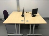 Four office desks with covid screens, four office chairs, four under-desk drawers,