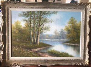 Phillip Cantrell - Large Framed Original Oil on Canvas - River