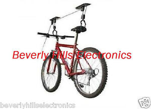 Bike-Bicycle-Lift-Ceiling-Mounted-Hoist-Storage-Garage-Hanger-Pulley-Rack-NEW