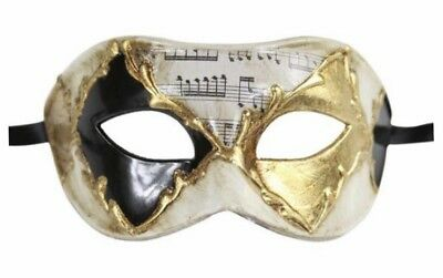 VENETIAN MASK Masquerade Phantom of the Opera Music Notes Art - BLACK WHITE GOLD (Black And White Venetian Mask)