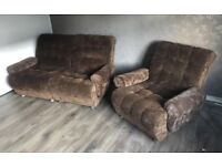 Neat Two Seater Settee and Matching Chair