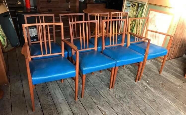 Set Of 8 Mid Century Retro Gordon Russell Dining Chairs In Crystal