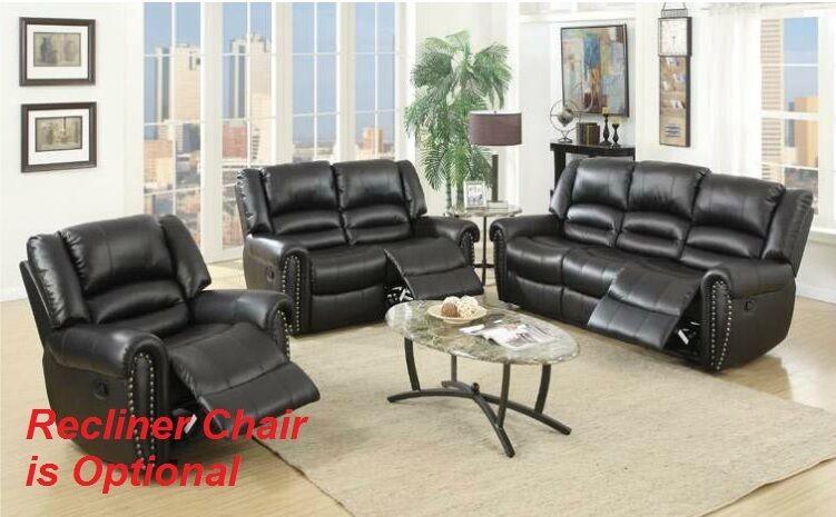 Living Room Reclining Sofa Set Modern Sofa & Loveseat Bonded Leather Furniture