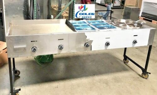 "New 93"" griddle Wok Combo Cart Hot Dogs Hamburgers Meats Fries Tacos Stir Fry"