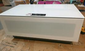 A new stylish white high gloss and white glass tv unit .