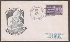 (OW 1) USS Harwood DD 861 September 13 1948 Rubber Stamped Cachet