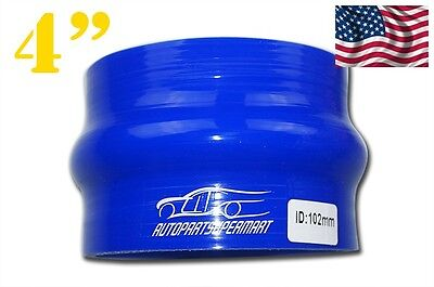 """4PLY Silicone Hose Hump Coupler Joiner Inside Diameter 102mm 4"""" Blue"""