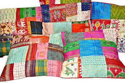 Set Of 5 patchwork kantha Pillow,indian silk sari Kantha Decorative throw pillow