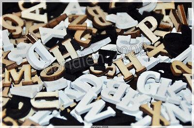 Alphabet ABC 104mini Holzbuchstaben Natur Schwarz Weiß Deko Basteln scrapbooking