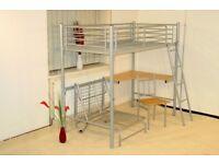 Single bunk bed with desk and chair underneath plus separate put-you-up bed