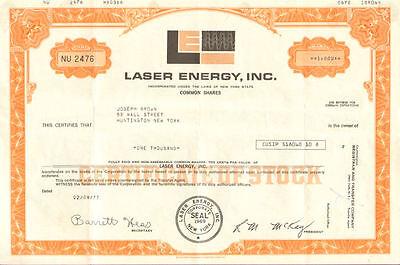 Laser Energy > New York technology stock certificate tech share