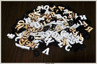 Alphabet ABC 104 Holzbuchstaben Natur Schwarz Weiß Holz Basteln scrapbooking