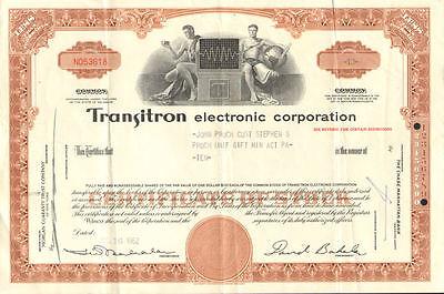 Transitron Electronic Corporation > David Bakalar transistor stock certificate