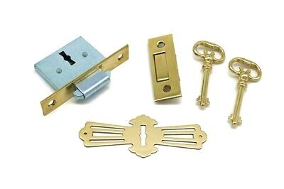 (ANTIQUE ROLL TOP DESK LOCK, FULL MORTISE WITH TRAP DOOR, SQUARE CORNERS)