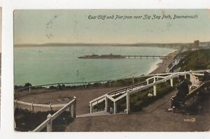 East Cliff & Pier From Zig Zag Path Bournemouth 1914 Postcard 083a
