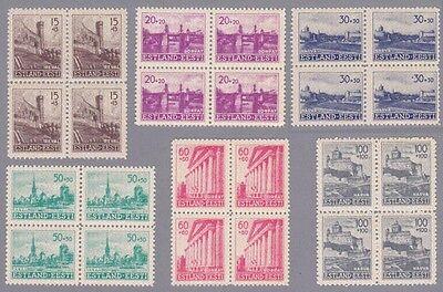 Estland Mi.Nr. 4-9 postfrische Viererblocks