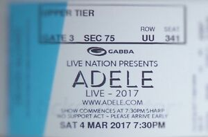 2 tickets to Adele concert on 4th March at the Gabba Spring Hill Brisbane North East Preview