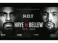 David Haye vs Tony Bellew 2 TICKETS 4th March O2 Arena