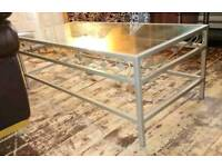 Lovely Brushed Silver Metal Frame Coffee Table