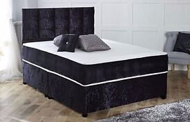 CRUSHED VELVET BED BASE £79 ONLY, WITH 10 INCH THICK DEEP QUILT MATTRESS £129 FREE SAME DAY DELIVERY