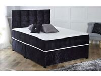 CHOICE OF COLORS ** BRAND NEW DOUBLE CRUSHED VELVET DIVAN BED BASE WITH DEEP QUILTED MATTRESS SILVER