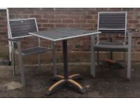 Table & 4 Stackable Garden Chairs