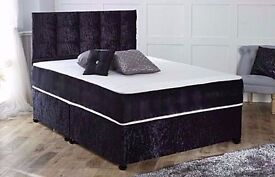ALL SIZE AVAILABLE BRAND NEW DOUBLE CRUSHED VELVET DIVAN BED BASE & 10& THICK ORTHOPEDIC MATTRESS