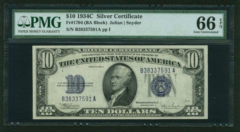 U.S. 1934-C  $10 SILVER CERTIFICATE BANKNOTE  FR-1704, CERTIFIED PMG GEM 66-EPQ