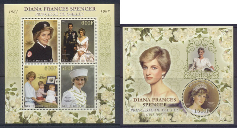 Mali - Princess Diana - MNH set 4val and s/s
