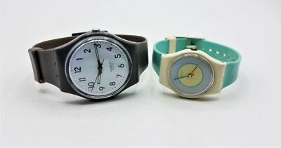 2 PC Swatch Quartz Watch Lot RUNS BT283