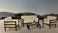 Outdoor Sofa/Divan Set! Black/Naturel! Aluminum+Wicker