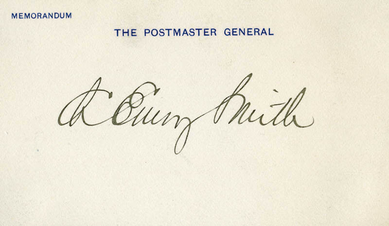 CHARLES EMORY SMITH - PRINTED CARD SIGNED IN INK